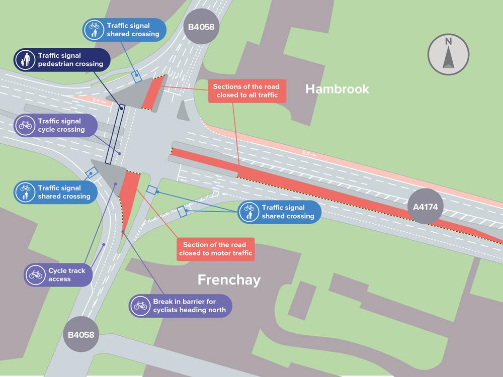 Hambrook cycle access map