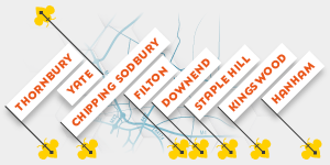 Bee Trail Map thumbnail showing Thornbury, Yate, Chipping Sodbury, Filton, Downend, Staple Hill, Kingswood and Hanham
