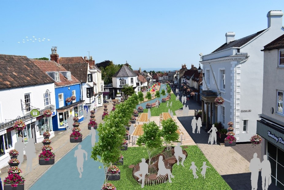 An artists impression of Thornbury High Street pedestrianisation