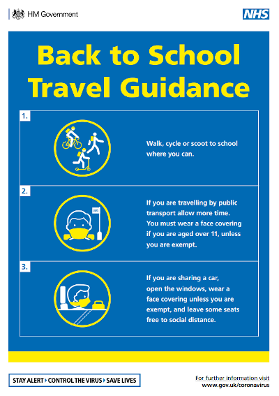 Back to school travel guidance in infographic format