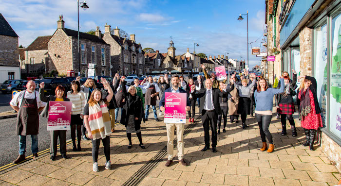 Photo of Chipping Sodbury High Street traders and the leader of the council