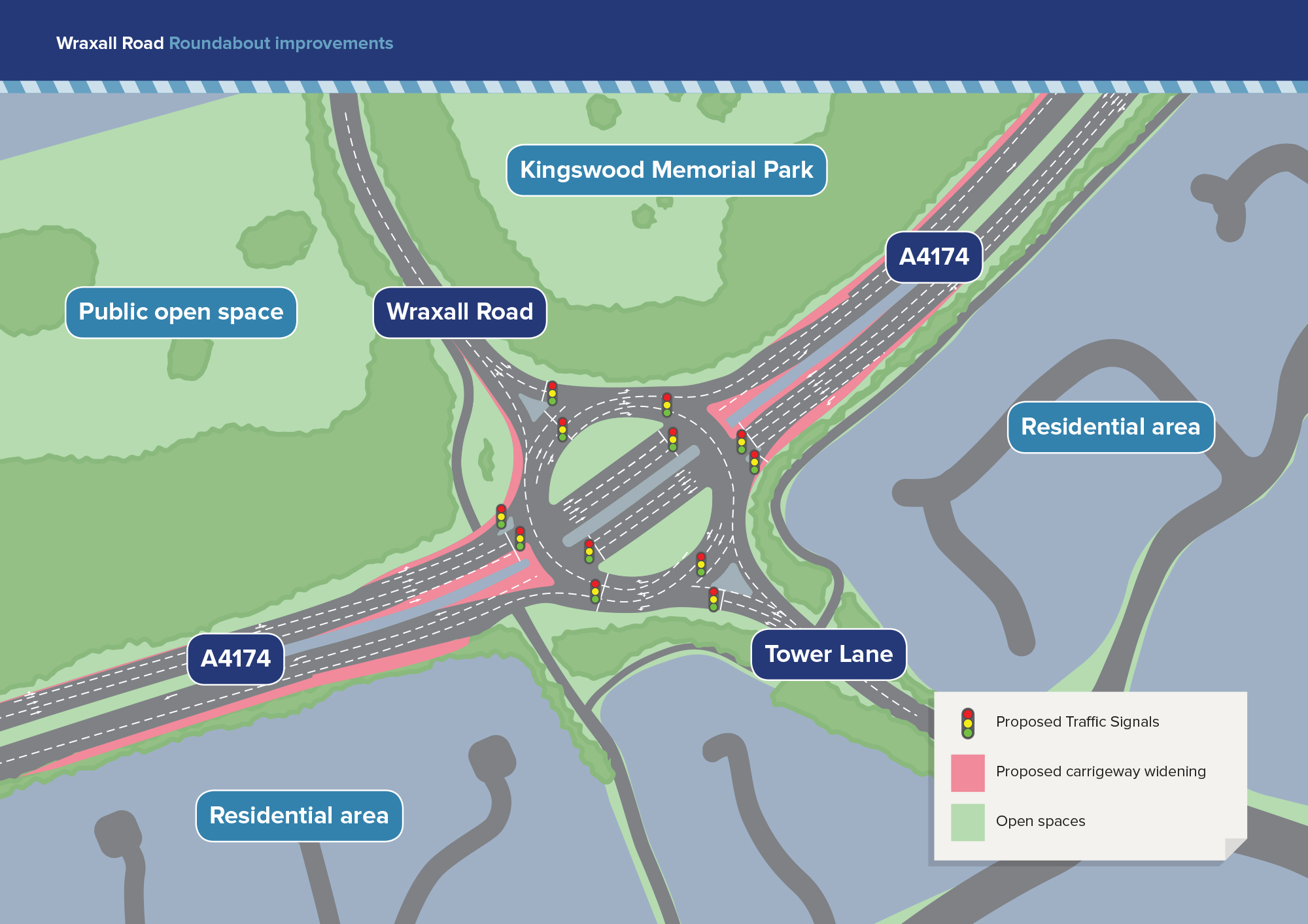 Map illustrating Wraxhall Road roundabout improvements including proposed traffic signals, carriageway widening and open spaces.