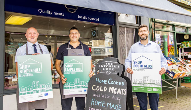 Staple Hill traders with the Leader of South Gloucestershire Council, Councillor Toby Savage