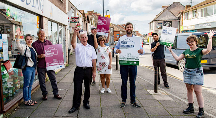 A photo of the Hanham High Street traders and the leader of the council